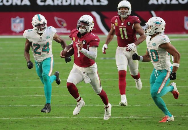 Arizona Cardinals quarterback Kyler Murray (1) breaks off a long run last week against Miami.