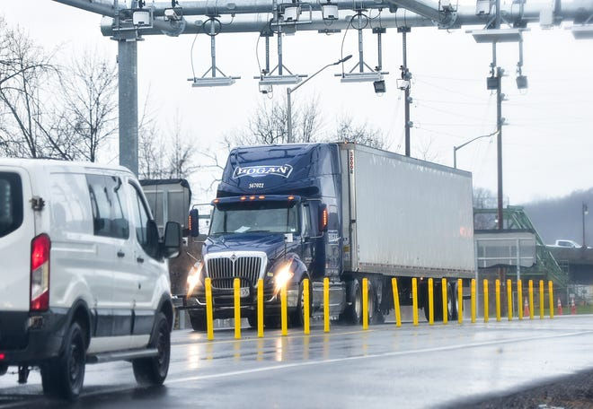 Traffic passes under a new toll gantry located at the Herkimer exit of the NYS Thruway. A new cashless tolling system will be in place by the End of 2020.