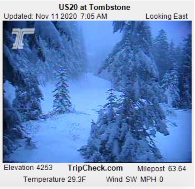 Tombstone Pass on Highway 20 east of Albany saw a healthy dump of snow Tuesday night and is expected to see more into this weekend.