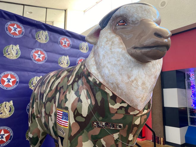 'Private Mohair San Angelo', a fiberglass sheep statue was unveiled Veterans Day, Nov. 11, 2020, at the Sunset Mall in San Angelo.