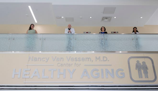 Dr. Cielo Rose, left, Dr. Mohamed M. Elrahman, Dr. Lynn Jones, and Dr. Suma S. Dondapati pose for a photo. They are the physicians at the Nancy Van Vessem, M.D. Center for Healthy Aging.