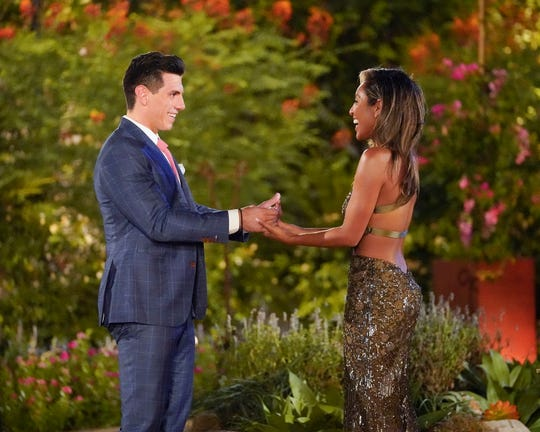 """Peter Giannikopoulos and Tayshia Adams on """"The Bachelorette."""""""