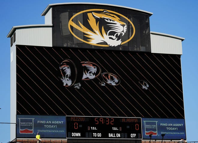 A general view of the Missouri logo on the scoreboard before a game at Faurot Field.