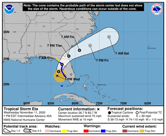 Tropical Storm Eta at 1 p.m. ET on Nov. 11, 2020.