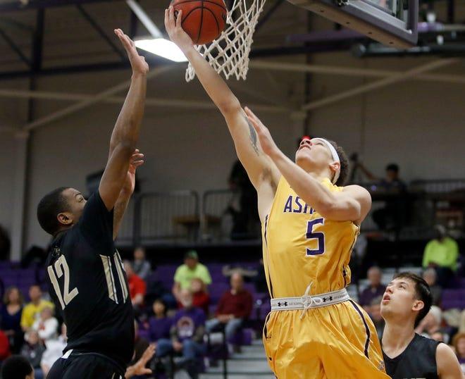 Aaron Thompson (5) is one of three starters returning for the Ashland University men's basketball team.