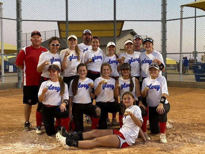 Glory 14U Softball Team competed in The Glove Hunters Tournament in Brownwood this past weekend. They finished out their season as the champs in their division. Pictured below Back Row: Head Coach Bobby Crelia, Asst. Coach Michael Vita, Asst. coach Chris Wolf. Middle row: Jordyn Mcintire, Stoney Laughlin, Abby Wolf, Lacie Isenhower, Teven Stovall and River Jones. Botton Row: Marissa Reedy, Lacie Day, Lyndi Landers, Julianna Ethridge and Aubrey Greaves. Bottom center: Kyleigh Caperton.