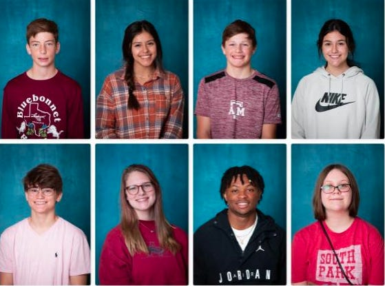 Brownwood High School has announced their October Students of the Month. The following students were recognized: Top, from left, Ty Tindol, Addison Pesina, Jake Reaves, Chloe Adamez. Bottom, from left, Jackson Tucker, Kate Yantis, Royshad Henderson, Tia Yeatherman.