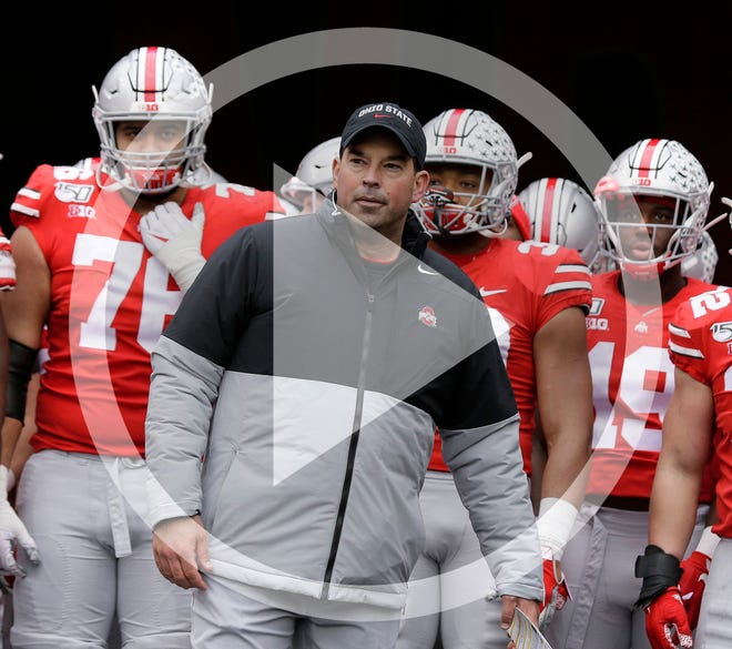 In this file photo, Ohio State Buckeyes head coach Ryan Day prepares to lead out his team for the second half of Saturday's NCAA football game against the Maryland Terrapins at Ohio Stadium in Columbus on November 9, 2019.