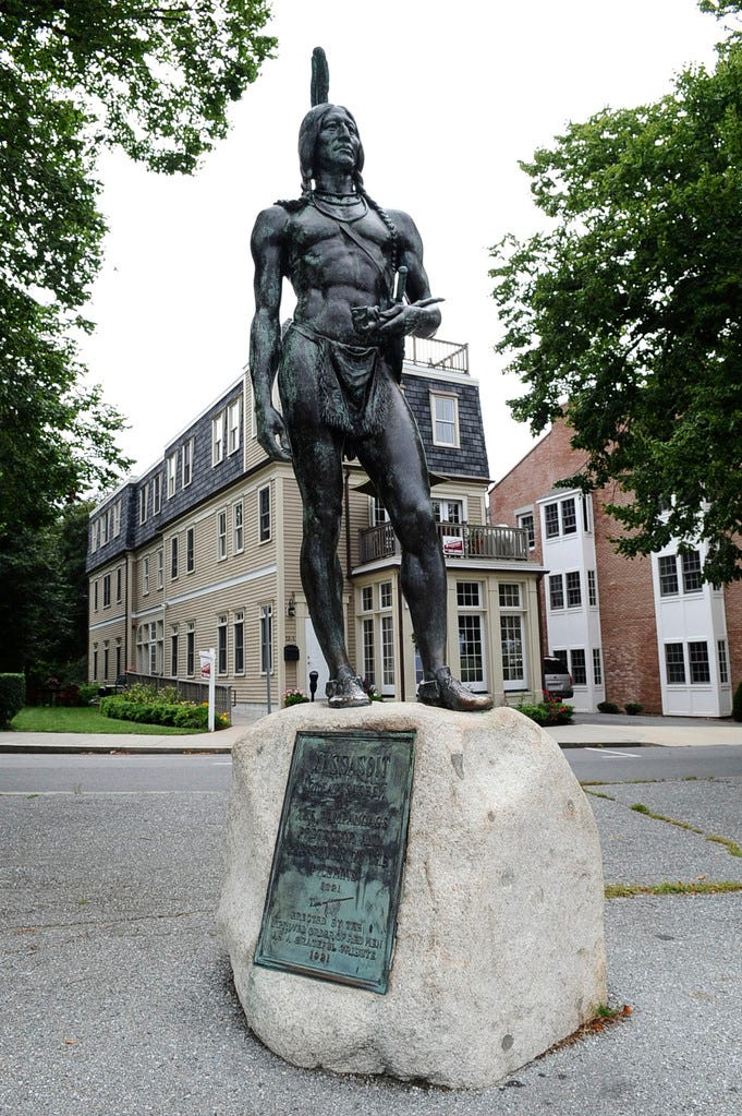 A statue of Massasoit stands on Cole's Hill, in Plymouth.