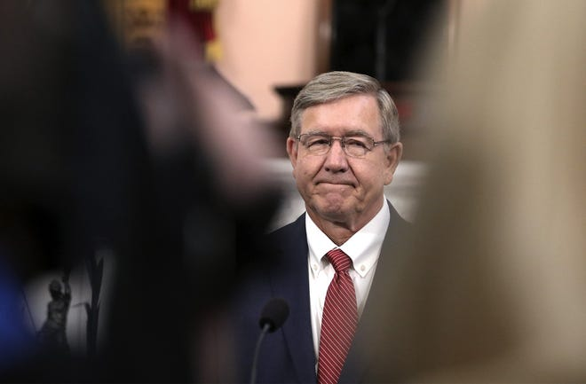 Bob Cupp, R-Lima, talks with the press after being elected Speaker of the House at the Ohio Statehouse on Thursday, July 30, 2020 [Fred Squillante/Dispatch]