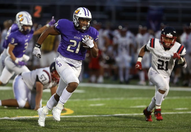 DeSales running back/linebacker Jonathan Thompson, here scoring against Hartley in a September game, has emerged as a key player for the Stallions.