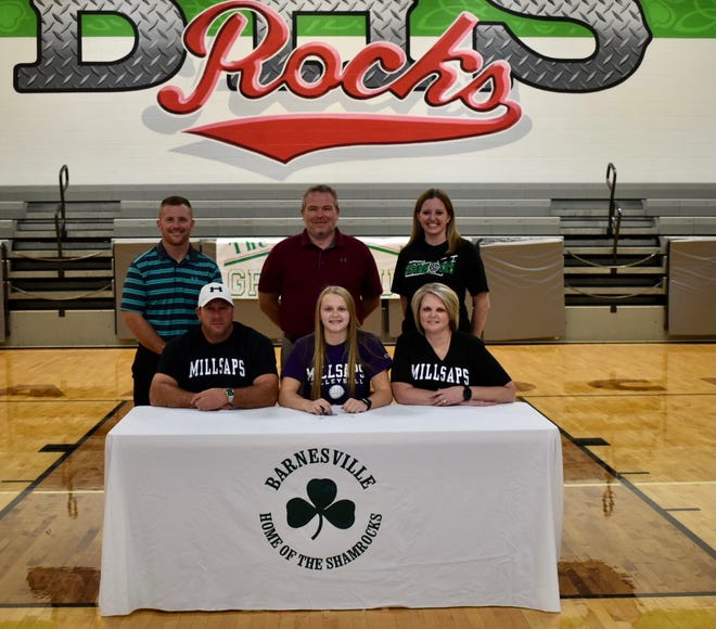 Barnesville senior Rylee Stephens recently signed to attend Millsaps College in Mississippi where she will continue her volleyball career. Pictured are Front row: Corey Stephens, Rylee Stephens, Wendy Stephens Back Row: Brad Hannahs, Athletic Director, Ron Clark, BHS principal and Kimberly Jarrett, Barnesville varsity volleyball coach.