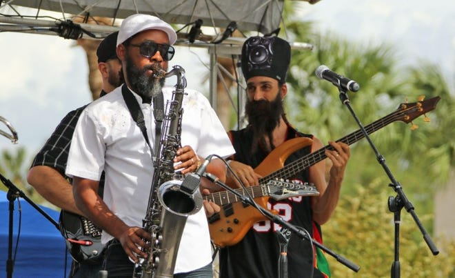 Reggae group Marcus Garvey Revolutionary Guards, or M G R G, play a set during DeLandapalooza, the annual music festival in downtown DeLand. This year's event is Saturday.