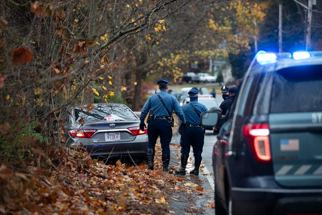 Massachusetts State Police and West Bridgewater police arrested Justin W. O'Connell, 36, of Brockton, who police say stole a gray Toyota Camry from the Burger King on Route 24 north, Thursday, Nov. 12, 2020. Police say the man led police on pursuit through West Bridgewater until he crashed into a tree at the intersection of Crescent and Spring streets.