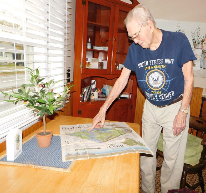Tom Nelson, 99, of Ilion, points to where the USS Wasmuth, was located in Pearl Harbor, Hawaii when the Japanese attacked.
