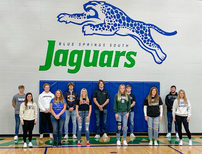 Thirteen Blue Springs South senior student-athletes signed their national letters of intent Wednesday at a ceremony at the high school.