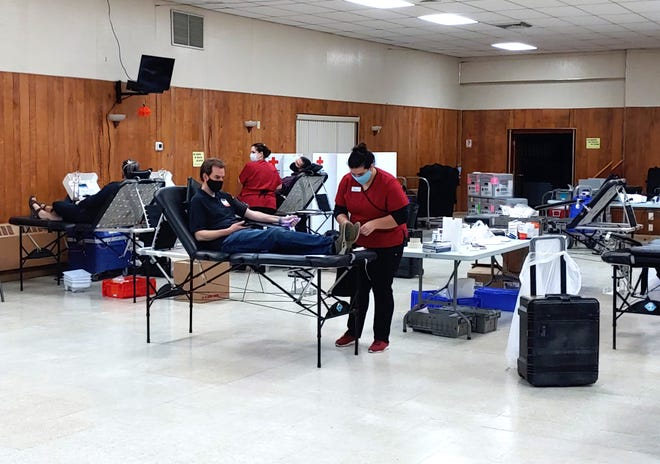 Safety protocols are in place as the Knights of Columbus boost efforts to help the Red Cross collect blood. A Christmas blood drive is currently being planned. Show here is November drive held at Freight House Hall on Columbus Avenue in Rochester.