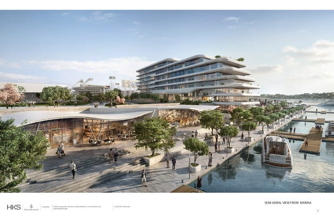 A rendering shows the riverfront retail and restaurants that are part of Jaguars owner Shad Khan's plan for development on land now used as Metropolitan Park. A riverwalk would run through the site and make it accessibly foot and bicycle, as well as by boat at a marina.