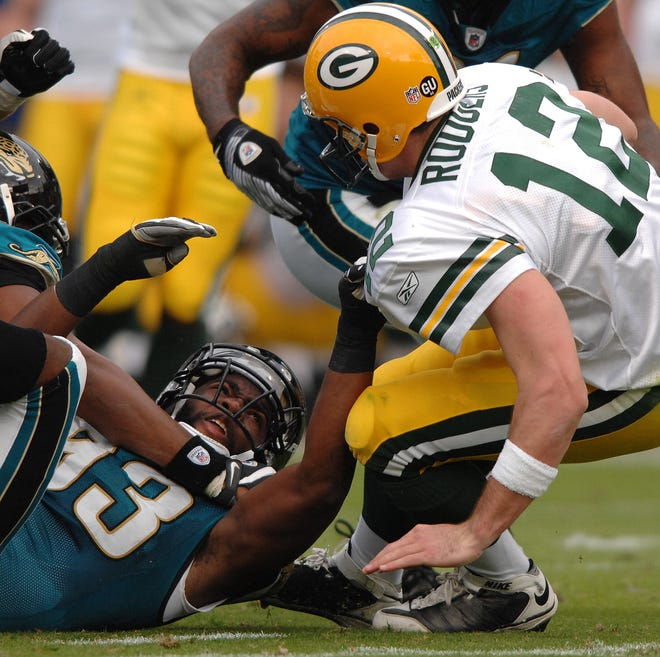 Quentin Groves of the Jaguars sacks Green Bay quarterback Aaron Rodgers during a 2008 game in Jacksonville. The 20-16 victory was the last time the Jaguars beat the Packers.