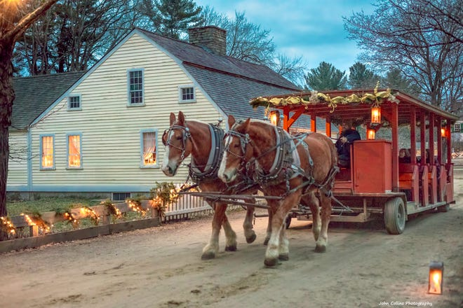 Christmas by Candlelightwill return to Old Sturbridge Village (OSV) this December. A horse-drawn carryall will run throughout the village offering rides during the event.