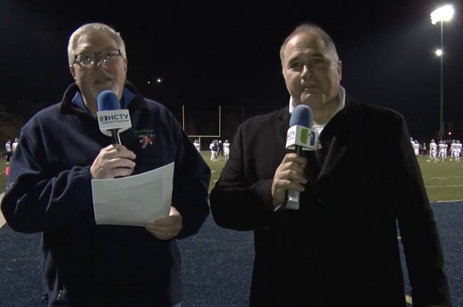 "This week, HCTV presents HHS Football announcers Mike Rickman and Matt Palumbo with ""Highlights from the OHSAA Division II Region 5 playoff game, Hudson vs Hoban."""