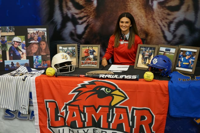 Frenship softball player Maya Mongelli will continue playing at the collegiate level after signing with Lamar University.