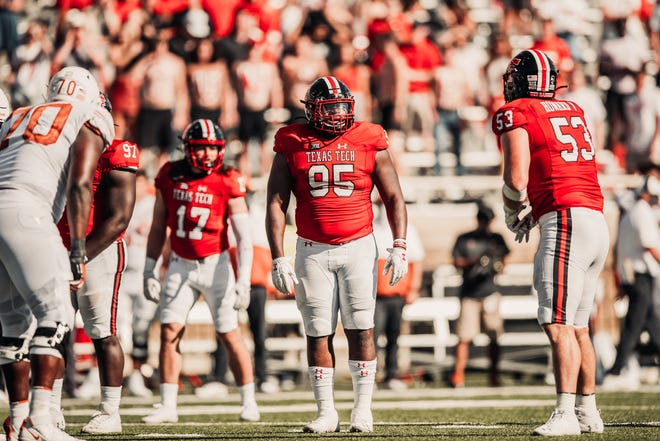 Texas Tech nose tackle Jaylon Hutchings (95) was the last experienced defensive lineman standing last week in the Red Raiders' depleted defensive front. Hutchings has started all seven games this season, giving him 17 starts over two years.