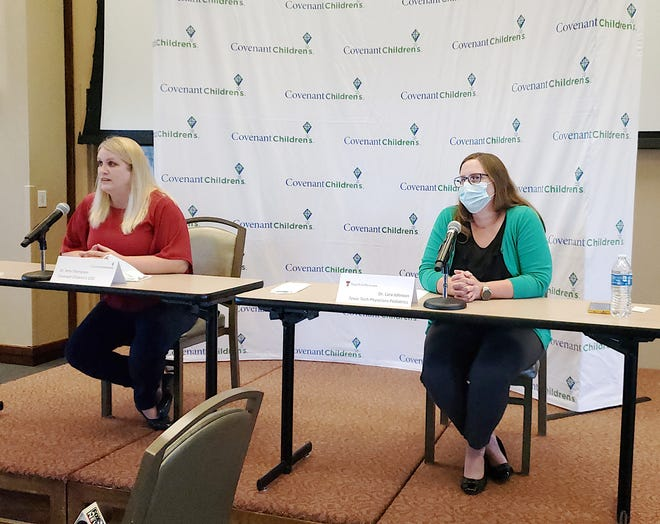 Dr. Amy Thompson, left, and Dr. Lara Johnson urged the public to continue practicing infection control guidelines following a child's death linked to a rare complication associated with COVID-19.