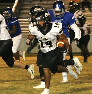 Caleb Gallashaw (14) scored four touchdowns in the first half last week against Bolton. He will need to have another big game this week as Leesville hosts Northwood-Shreveport for homecoming.