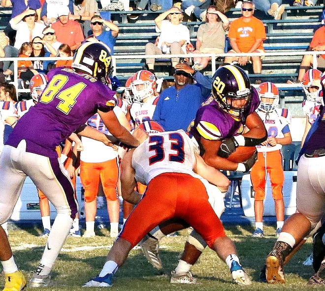 South Beauregard running back Malachi McElhaney (20) will need to have his best game of the season Friday as the Golden Knights face undefeated Jennings.