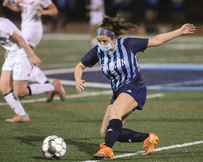 Franklin junior Clare Bowen clears the ball during the girls soccer game against North Attleborough at Franklin High School last week. The Panthers season came to an end in a loss to Mansfield on Monday.