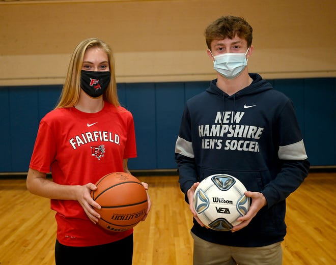 Medway High School senior Lauren Beach (left) will play basketball at Fairfield University while classmate Luke Fagerson will play soccer at the University of New Hampshire. They both signed their National Letters of Intent at Medway High School recently.
