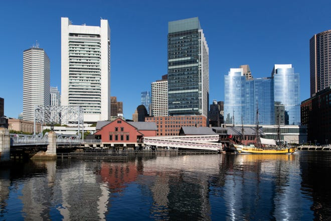The Boston Tea Party Ships & Museum floats in Boston Harbor.