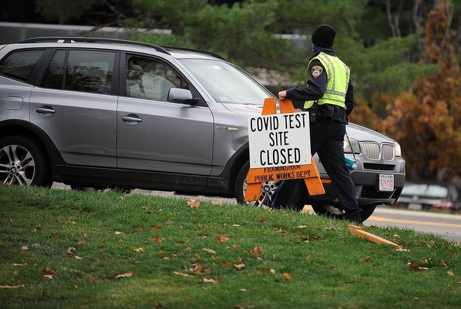 Both of Framingham's state-sponsored coronavirus test sites will be closed on Thursday for Thanksgiving.