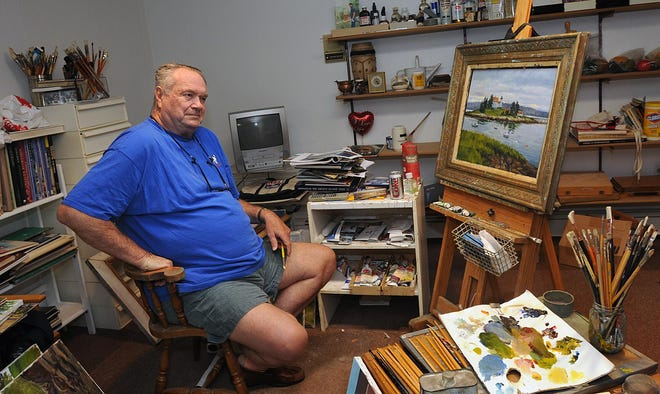Former Celtics star Tom Heinsohn found piece in his home art studio. This photo is from 2009, when he lived in Needham.