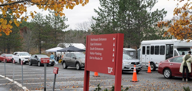 The lines have been long for those waiting for free COVID-19 testing at TJX Companies Inc. in Framingham since the site, operated by Fallon Ambulance, opened on Nov. 12. The site is open 10 a.m. to 2 p.m. Monday through Saturday.