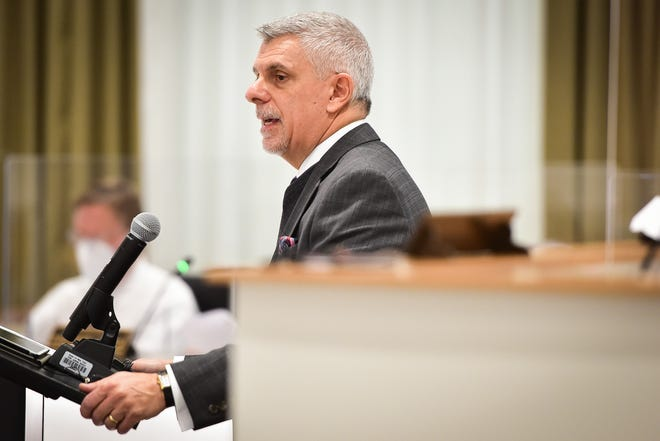 Oneida County Executive Anthony Picente Jr. outlines his proposed county budget Thursday in the Board of Legislators Chamber at the Oneida County Office Building.