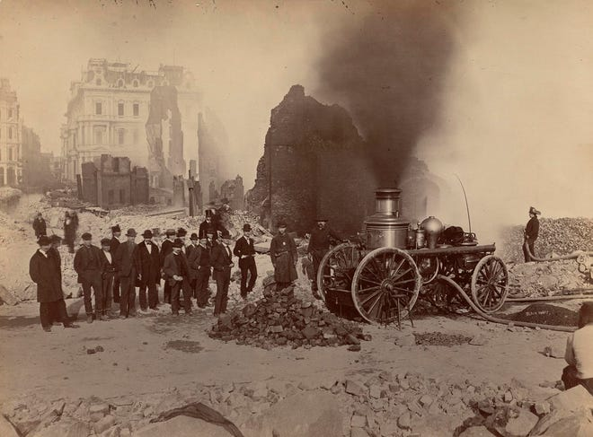 One of the Victorian fire pumpers, like the Kearsarge of Portsmouth, employed at the Great Fire of Boston on Nov. 9-10, 1872. The blaze destroyed 776 buildings on 65 acres over 12 hours.
