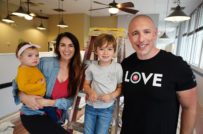 Donut Love co-owners Mike and Stephanie Oliveira, with their daughter Magnolia, and son Cash, are opening the Comfort Baking Company in the Exeter Commons plaza, 75 Portsmouth Ave. this January.