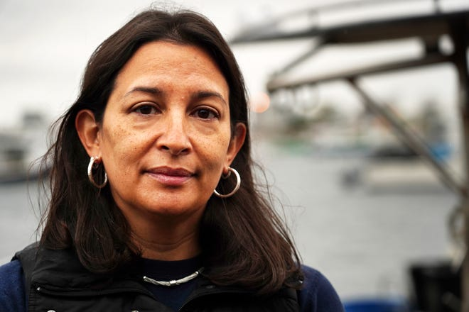 """Katerina Peralta-Chong mourns the loss of her husband, lobsterman Jaun Peralta-Martinez, who died while working on his boat, the """"Nauti Kat,"""" earlier this week."""