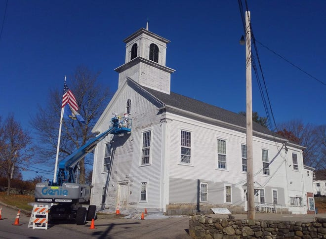 Rye Town Hall, seen during exterior repair work in 2018. The Town Hall was placed on the National Register of Historic Places for both its architecture and for its role as a center for politics and government.