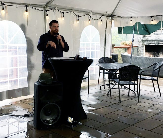 Eric Noone, co-owner and general manager of The Frogtown Chophouse, passionately speaks on the effects of COVID-19 on the hospitality industry in the Poconos at an event hosted by the Pocono Restaurant and Lodging Association at Barley Creek on Wednesday.