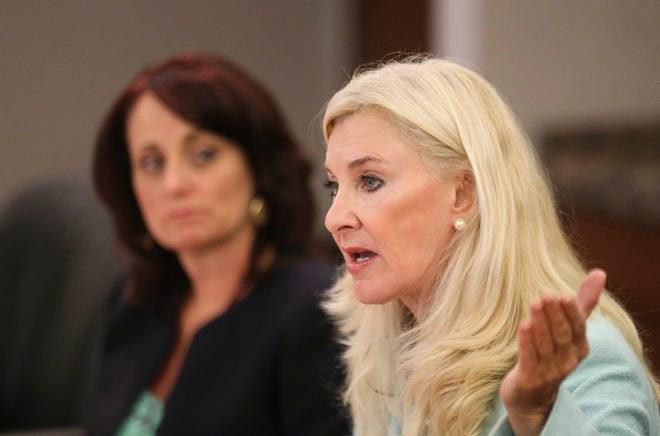 Palm Beach County Clerk and Comptroller Sharon Bock (right) and her then-Chief Operating Officer, Shannon Ramsey-Chessman, in 2015. (DAMON HIGGINS/ THE PALM BEACH POST)