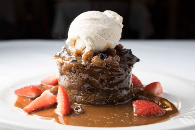Bread pudding served at III Forks in Palm Beach Gardens.