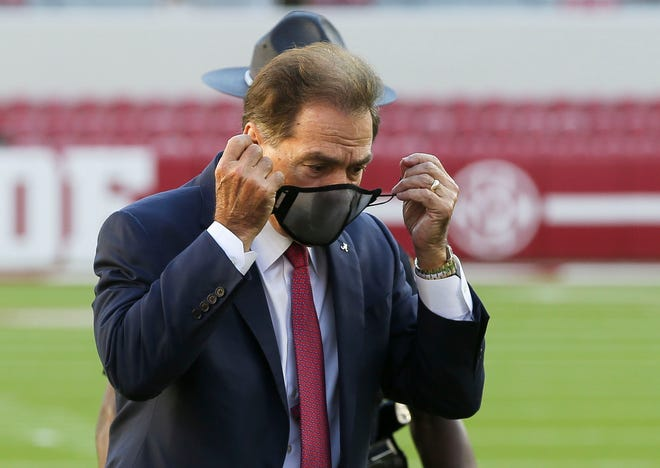Alabama head coach Nick Saban prepares for a TV interview before the Oct. 17 game vs. Georgia at Bryant-Denny Stadium. Alabama's game against LSU scheduled for Saturday has been canceled because of COVID-19.