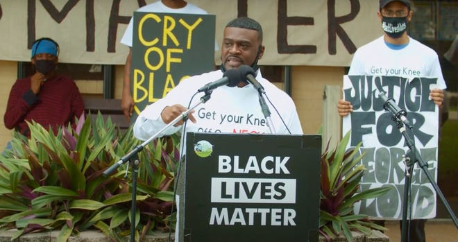 Robert Mitchell speaks Nov. 7 outside Belle Glade City Hall to announce the formation of Muck City Black Lives Matter, which aims to boost participation in local government, address the school-to-prison pipeline and better inform voters. Mitchell ran unsuccessfully for Belle Glade City Commission in March and plans to run again.