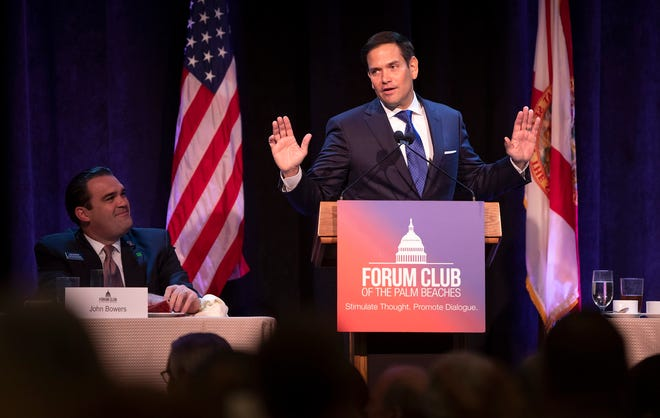 Sen. Marco Rubio speaks at the Forum Club luncheon at the Kravis Center in West Palm Beach on August 21, 2019. [ALLEN EYESTONE/palmbeachpost.com]