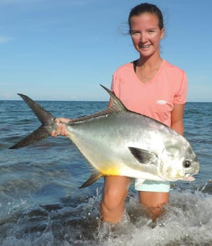 Emily Hanzlik of Loxahatchee caught this 21-pound, 4-ounce permit on unlimited general tackle off the beach on Aug. 12.