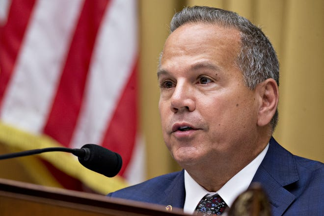 Published Caption:  Rep. David Cicilline, D-R.I., during a hearing in Washington on July 16, 2019. [ANDRE HARRER/BLOOMBERG]