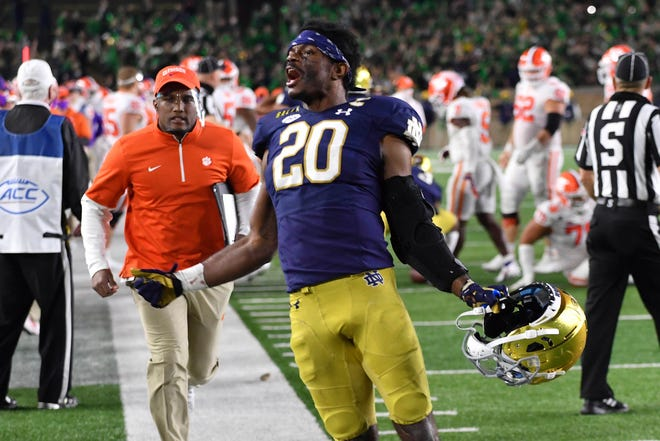 Notre Dame safety Shaun Crawford celebrates after Notre Dame defeated Clemson, 47-40, in two overtimes last Saturday in South Bend, Ind.